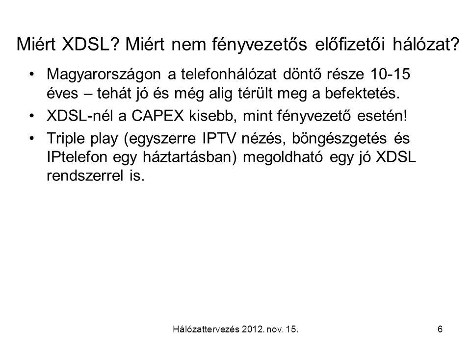 Miért XDSL? Miért nem fényvezetős előfizetői hálózat? Magyarországon a telefonhálózat döntő része 10-15 éves – tehát jó és még alig térült meg a befek
