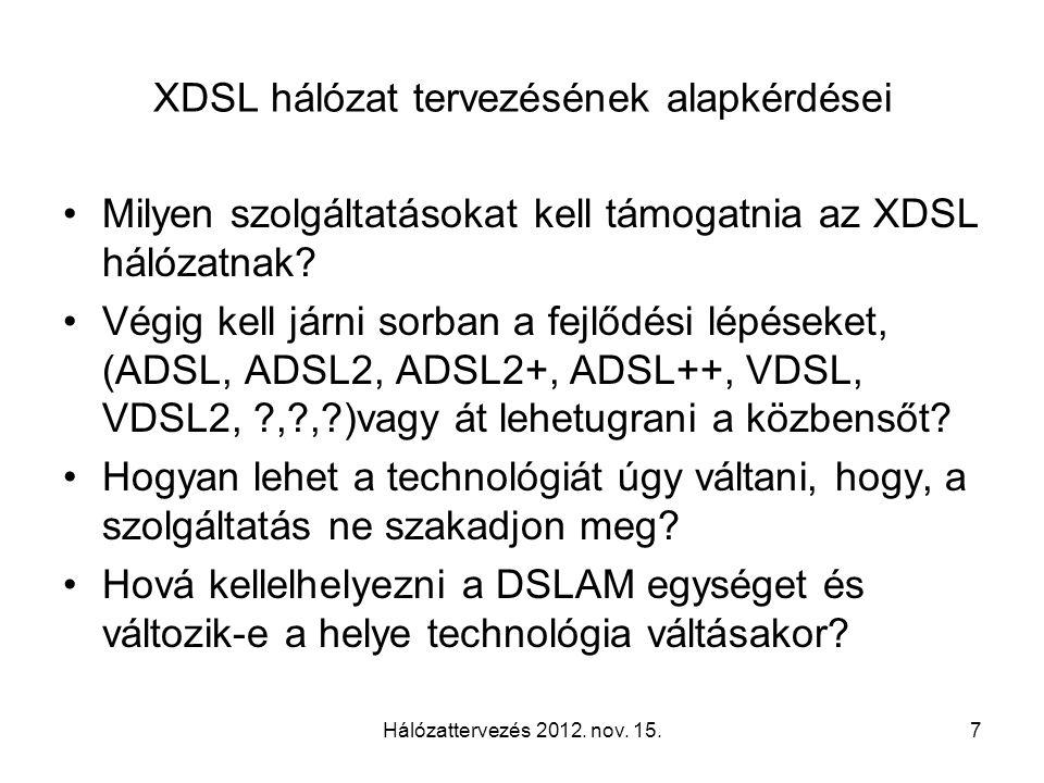 XDSL hálózat tervezésének alapkérdései Milyen szolgáltatásokat kell támogatnia az XDSL hálózatnak? Végig kell járni sorban a fejlődési lépéseket, (ADS