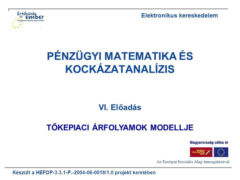 Készült a HEFOP-3.3.1-P.-2004-06-0018/1.0 projekt keretében PÉNZÜGYI MATEMATIKA ÉS KOCKÁZATANALÍZIS VI.