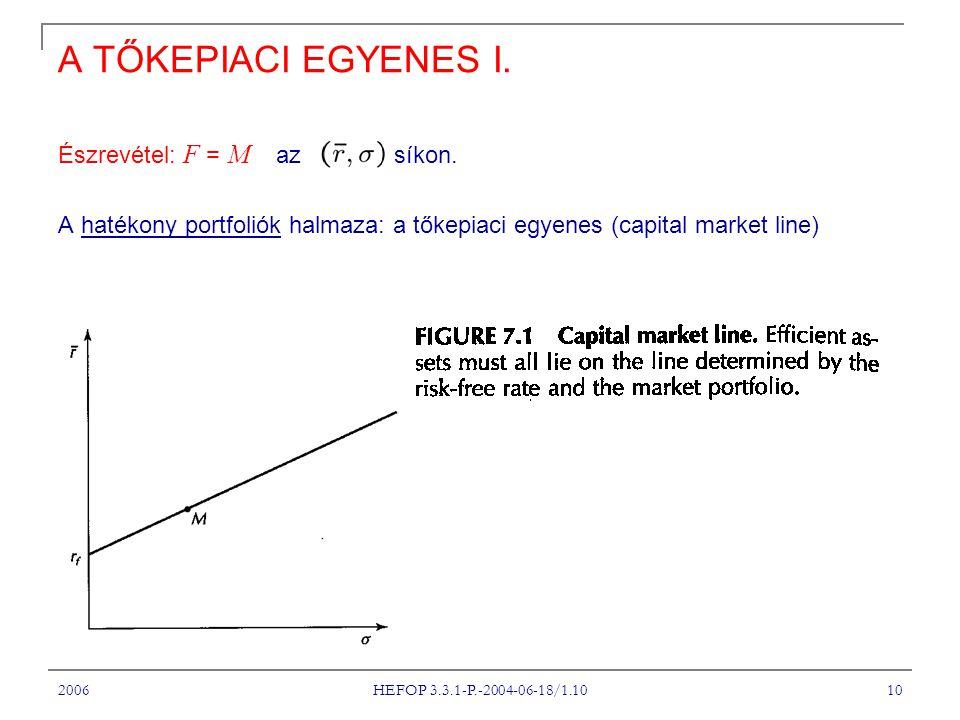 2006 HEFOP 3.3.1-P.-2004-06-18/1.10 10 A TŐKEPIACI EGYENES I.