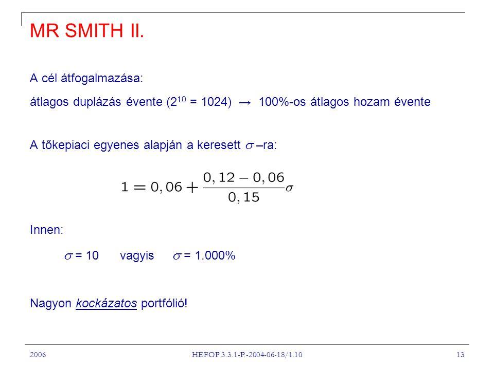 2006 HEFOP 3.3.1-P.-2004-06-18/1.10 14 AZ ÁRAZÁSI MODELL I.