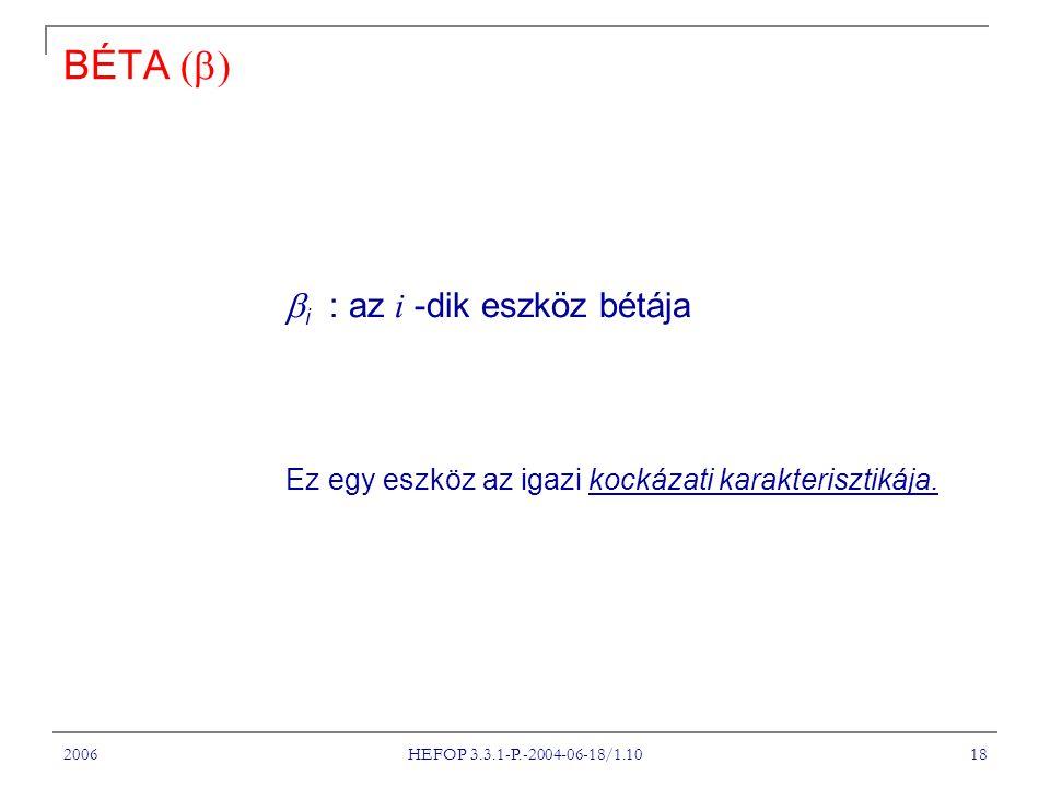 2006 HEFOP 3.3.1-P.-2004-06-18/1.10 18 BÉTA    i : az i -dik eszköz bétája Ez egy eszköz az igazi kockázati karakterisztikája.