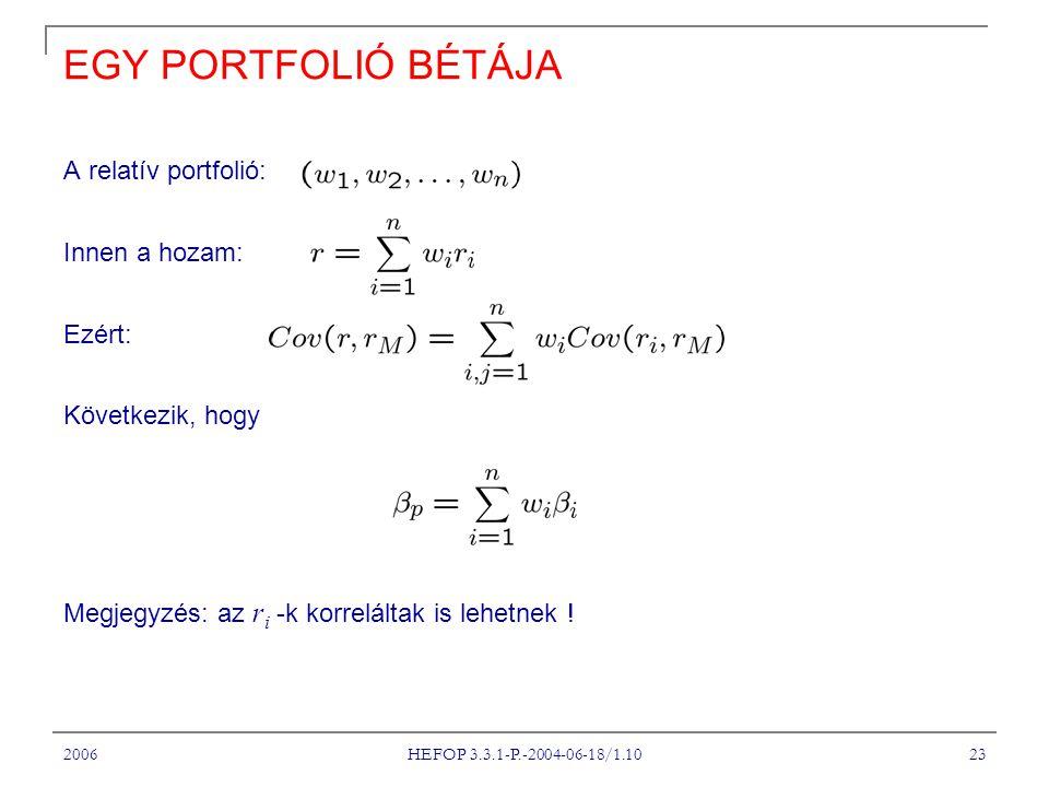 2006 HEFOP 3.3.1-P.-2004-06-18/1.10 23 EGY PORTFOLIÓ BÉTÁJA A relatív portfolió: Innen a hozam: Ezért: Következik, hogy Megjegyzés: az r i -k korreláltak is lehetnek !