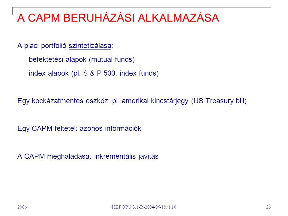 2006 HEFOP 3.3.1-P.-2004-06-18/1.10 26 A CAPM BERUHÁZÁSI ALKALMAZÁSA A piaci portfolió szintetizálása: befektetési alapok (mutual funds) index alapok (pl.