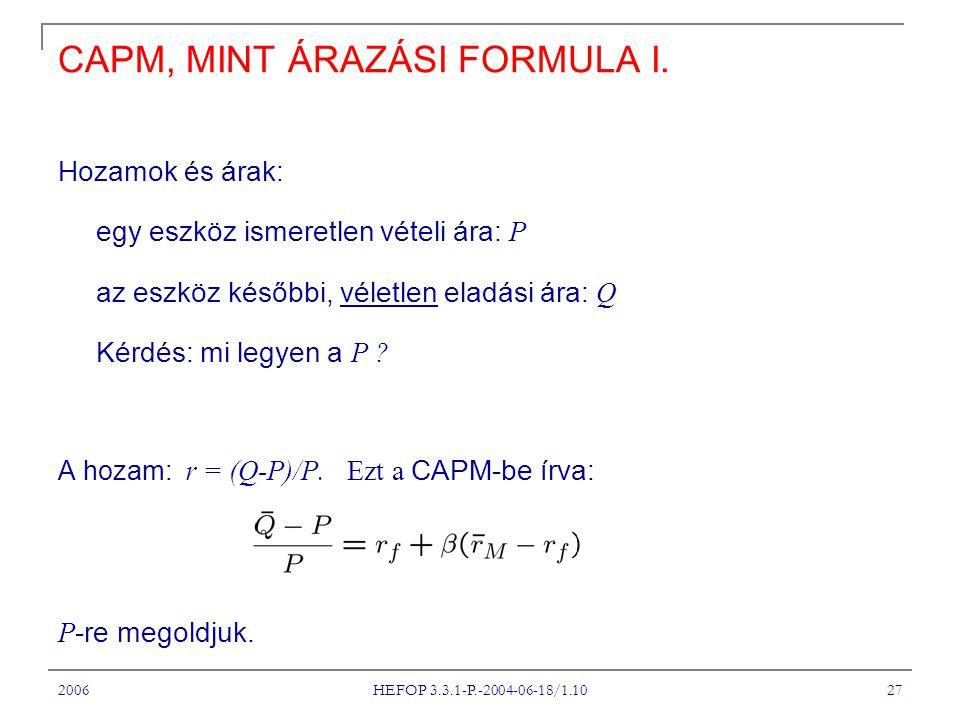 2006 HEFOP 3.3.1-P.-2004-06-18/1.10 27 CAPM, MINT ÁRAZÁSI FORMULA I.