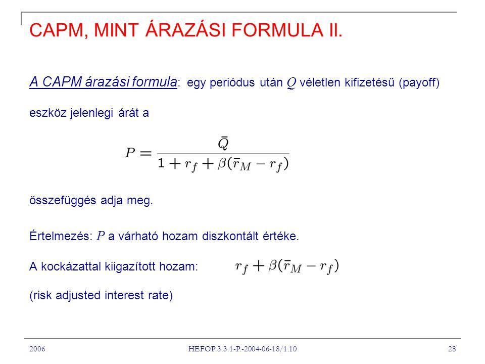 2006 HEFOP 3.3.1-P.-2004-06-18/1.10 28 CAPM, MINT ÁRAZÁSI FORMULA II.