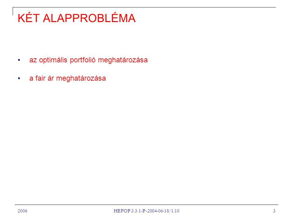 2006 HEFOP 3.3.1-P.-2004-06-18/1.10 3 KÉT ALAPPROBLÉMA az optimális portfolió meghatározása a fair ár meghatározása