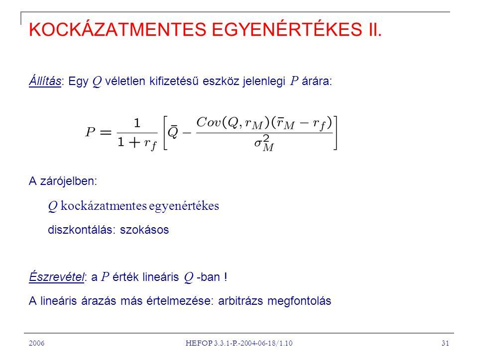 2006 HEFOP 3.3.1-P.-2004-06-18/1.10 31 KOCKÁZATMENTES EGYENÉRTÉKES II.