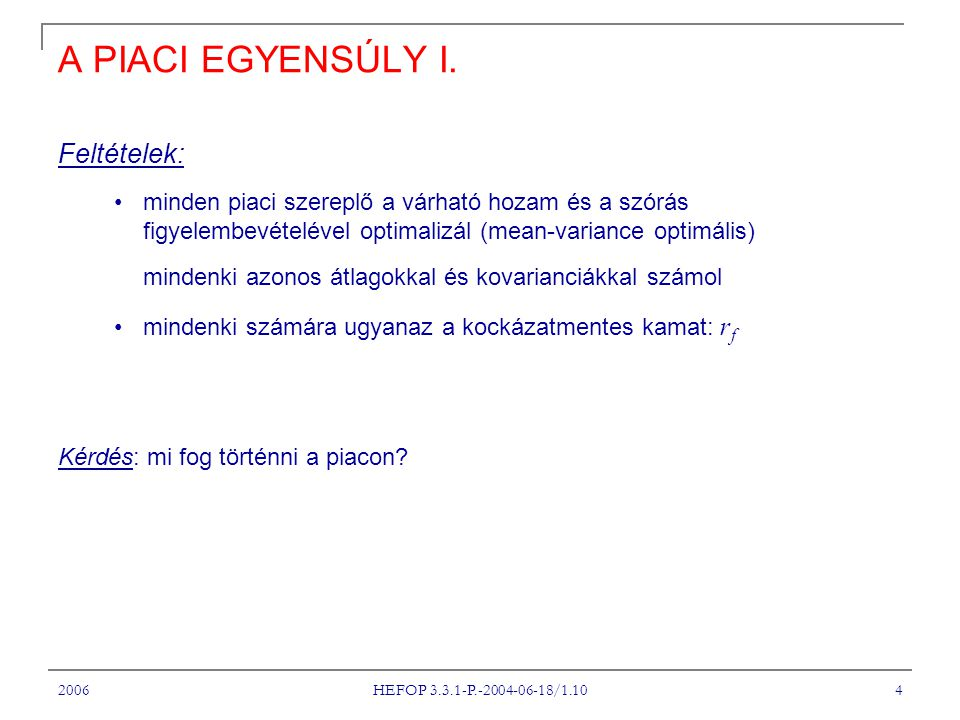 2006 HEFOP 3.3.1-P.-2004-06-18/1.10 4 A PIACI EGYENSÚLY I.
