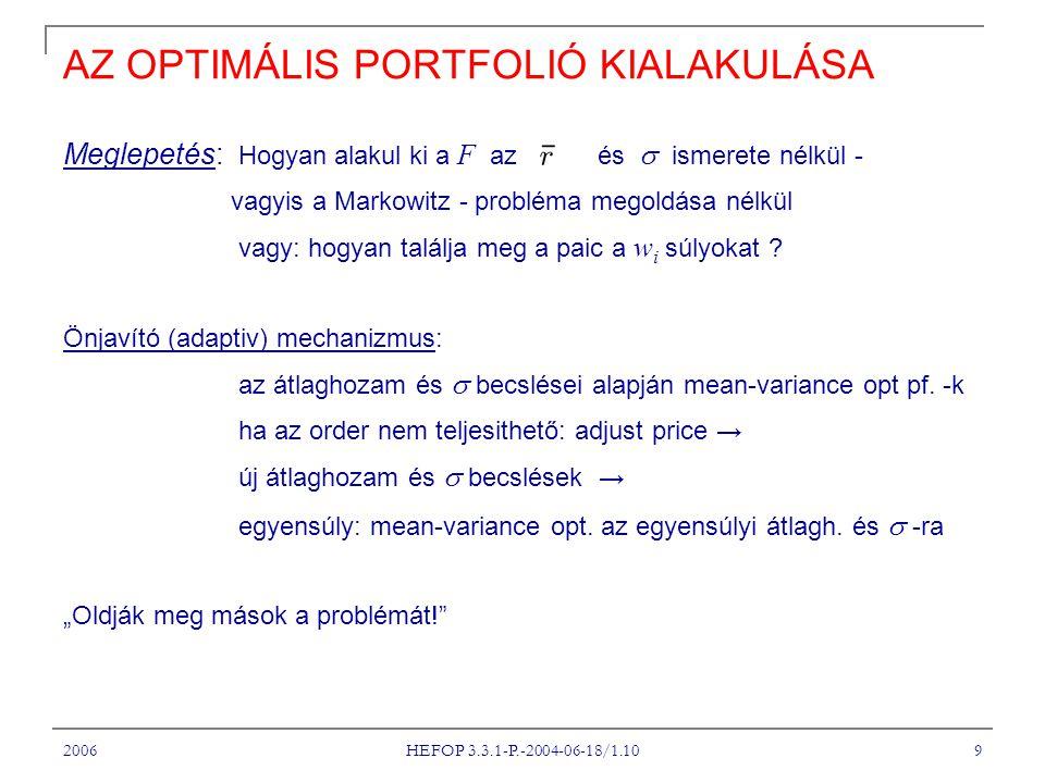 2006 HEFOP 3.3.1-P.-2004-06-18/1.10 9 AZ OPTIMÁLIS PORTFOLIÓ KIALAKULÁSA Meglepetés: Hogyan alakul ki a F az és  ismerete nélkül - vagyis a Markowitz - probléma megoldása nélkül vagy: hogyan találja meg a paic a w i súlyokat .