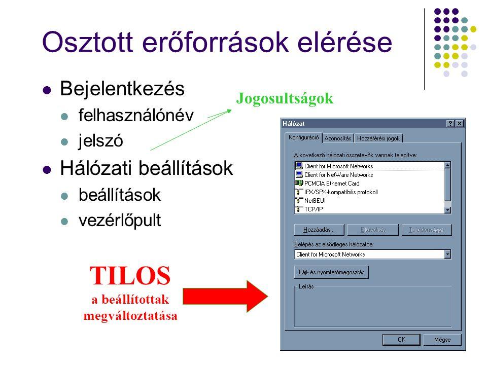 Osztott erőforrások elérése Bejelentkezés felhasználónév jelszó Hálózati beállítások beállítások vezérlőpult Jogosultságok TILOS a beállítottak megvál
