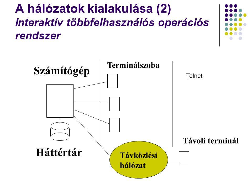 A hálózatok kialakulása (2) Interaktív többfelhasználós operációs rendszer Számítógép Háttértár Terminálszoba Távoli terminál Távközlési hálózat Telne