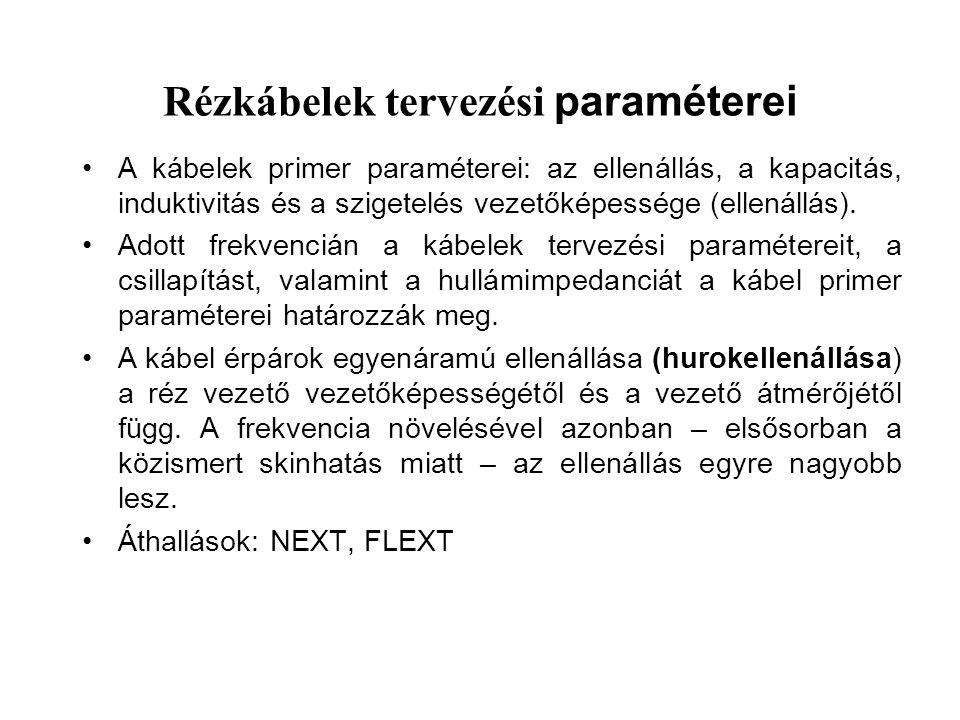 Rézkábelek tervezési paraméterei A kábelek primer paraméterei: az ellenállás, a kapacitás, induktivitás és a szigetelés vezetőképessége (ellenállás).