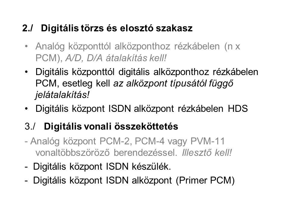 2./ Digitális törzs és elosztó szakasz Analóg központtól alközponthoz rézkábelen (n x PCM), A/D, D/A átalakítás kell.