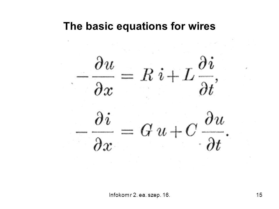 15 The basic equations for wires Infokom r 2. ea. szep. 16.