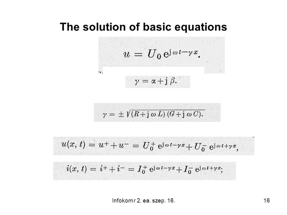 16 The solution of basic equations Infokom r 2. ea. szep. 16.