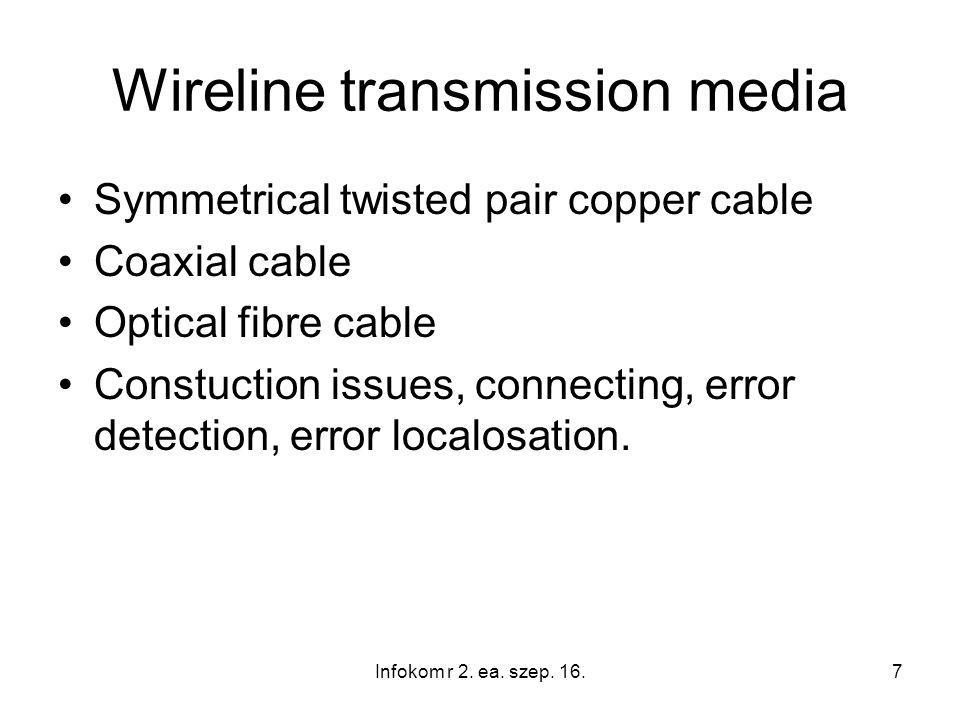 8 Media and cable characteristics Transmission parameters (attenuation, delay, reflection, crosstalk, noises, interferences) Laying, connecting technologies Faults, fault localization Matching, accessories, termination Infokom r 2.