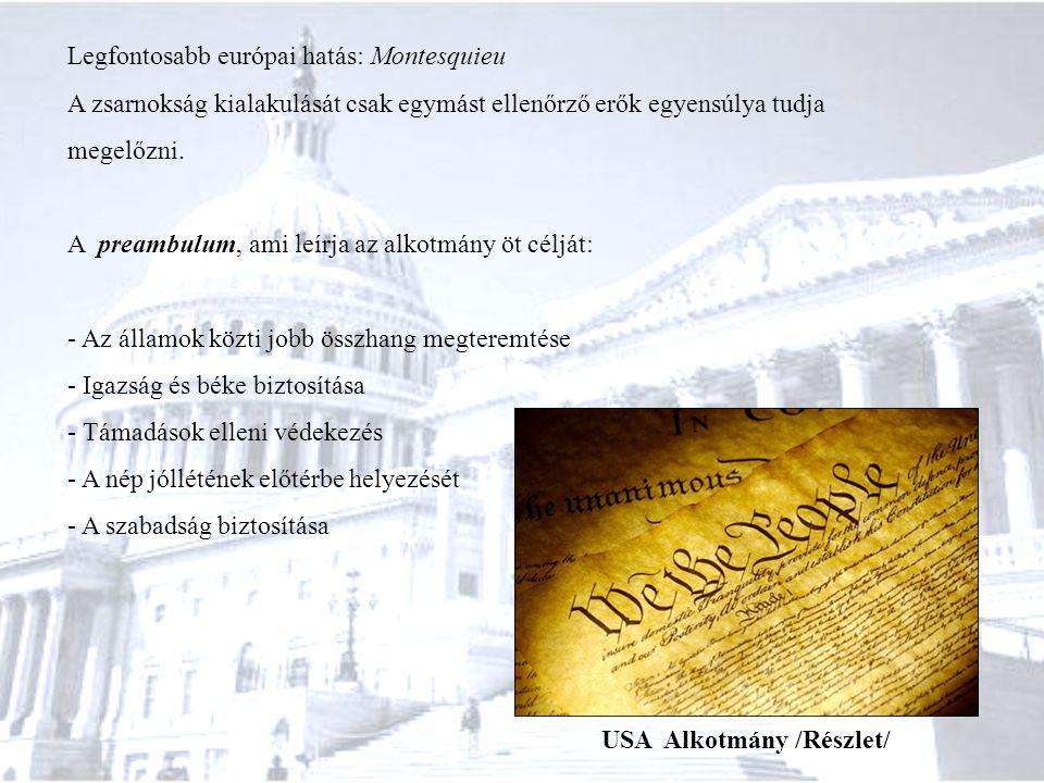 Legfontosabb európai hatás: Montesquieu A zsarnokság kialakulását csak egymást ellenőrző erők egyensúlya tudja megelőzni. A preambulum, ami leírja az