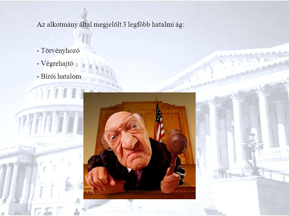 Az alkotmány által megjelölt 3 legfőbb hatalmi ág: - Törvényhozó - Végrehajtó - Bírói hatalom