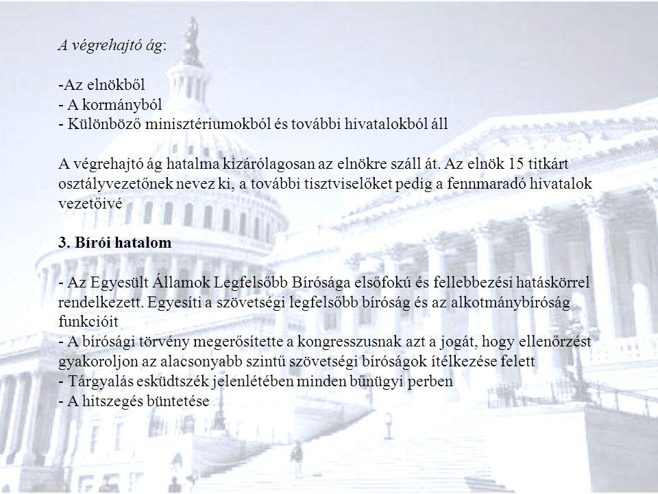 A végrehajtó ág: -Az elnökből - A kormányból - Különböző minisztériumokból és további hivatalokból áll A végrehajtó ág hatalma kizárólagosan az elnökr