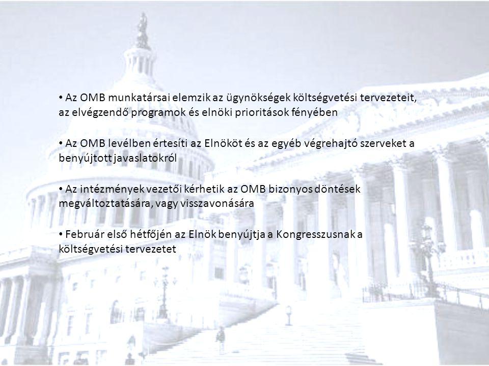 Az OMB munkatársai elemzik az ügynökségek költségvetési tervezeteit, az elvégzendő programok és elnöki prioritások fényében Az OMB levélben értesíti a