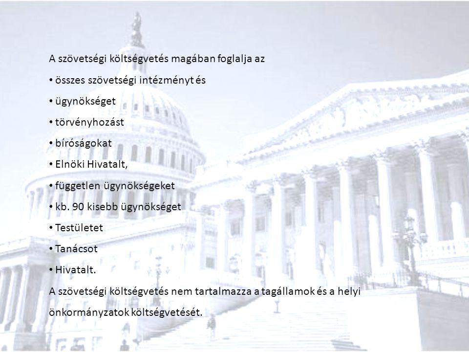 A szövetségi költségvetés magában foglalja az összes szövetségi intézményt és ügynökséget törvényhozást bíróságokat Elnöki Hivatalt, független ügynöks