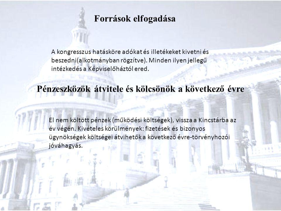 Források elfogadása A kongresszus hatásköre adókat és illetékeket kivetni és beszedni(alkotmányban rögzítve). Minden ilyen jellegű intézkedés a Képvis