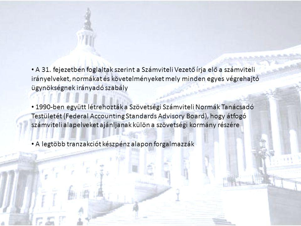 A 31. fejezetben foglaltak szerint a Számviteli Vezető írja elő a számviteli irányelveket, normákat és követelményeket mely minden egyes végrehajtó üg