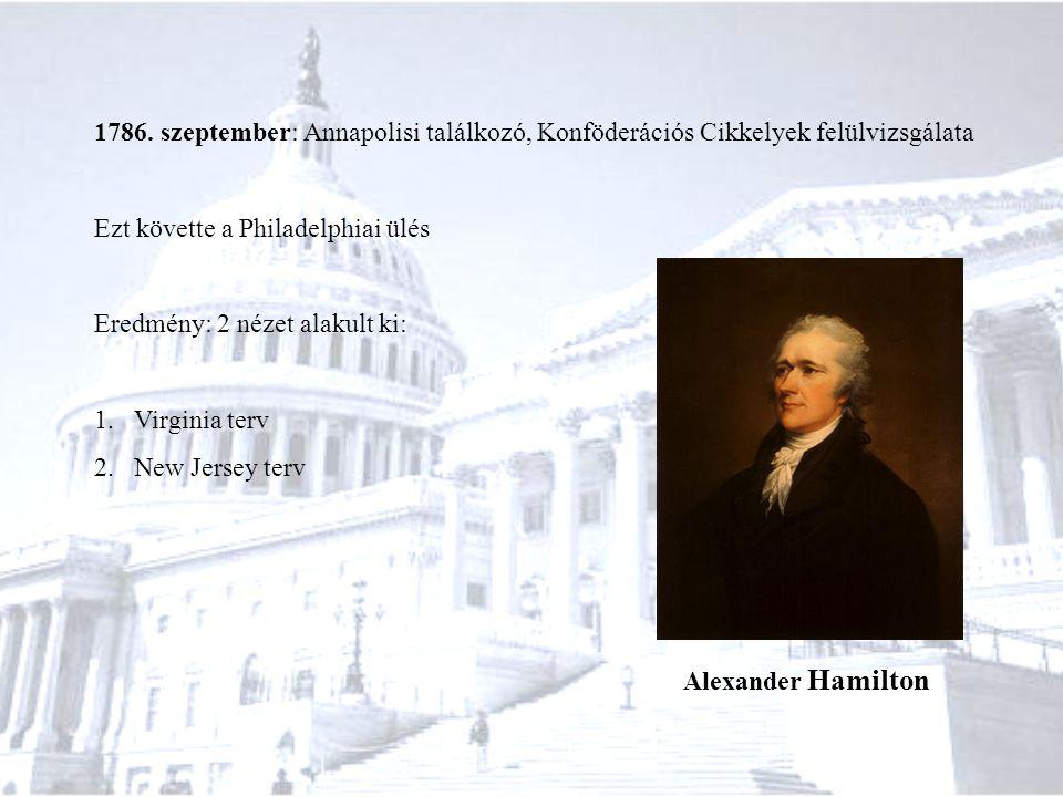 1786. szeptember: Annapolisi találkozó, Konföderációs Cikkelyek felülvizsgálata Ezt követte a Philadelphiai ülés Eredmény: 2 nézet alakult ki: 1.Virgi