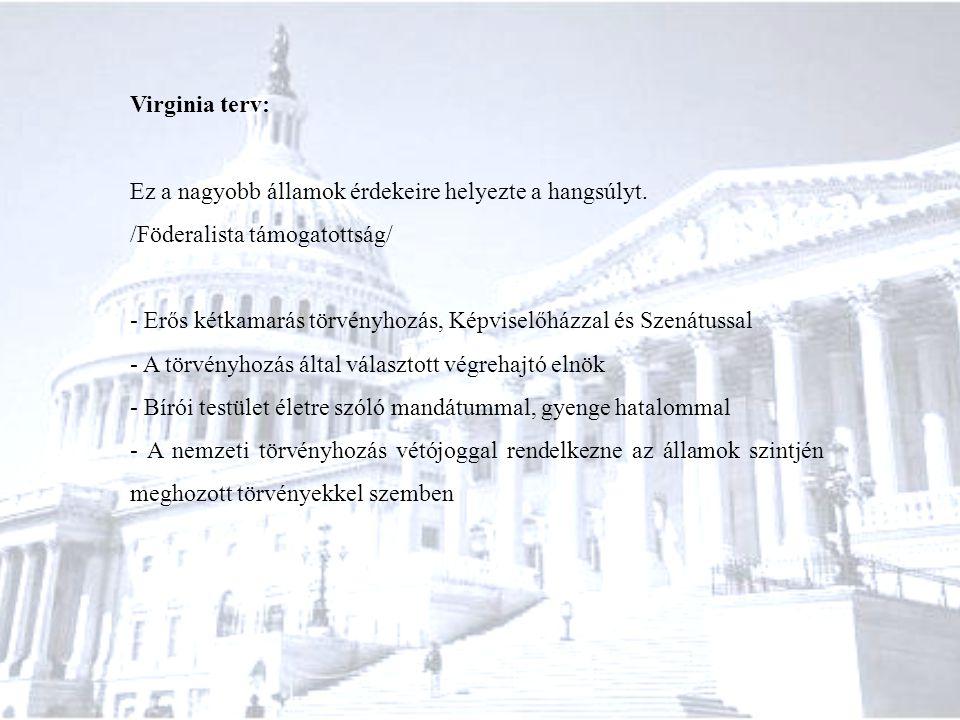 Virginia terv: Ez a nagyobb államok érdekeire helyezte a hangsúlyt. /Föderalista támogatottság/ - Erős kétkamarás törvényhozás, Képviselőházzal és Sze