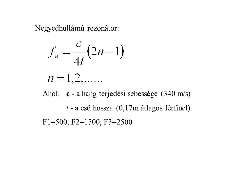 Negyedhullámú rezonátor: Ahol: c - a hang terjedési sebessége (340 m/s) l - a cső hossza (0,17m átlagos férfinél) F1=500, F2=1500, F3=2500