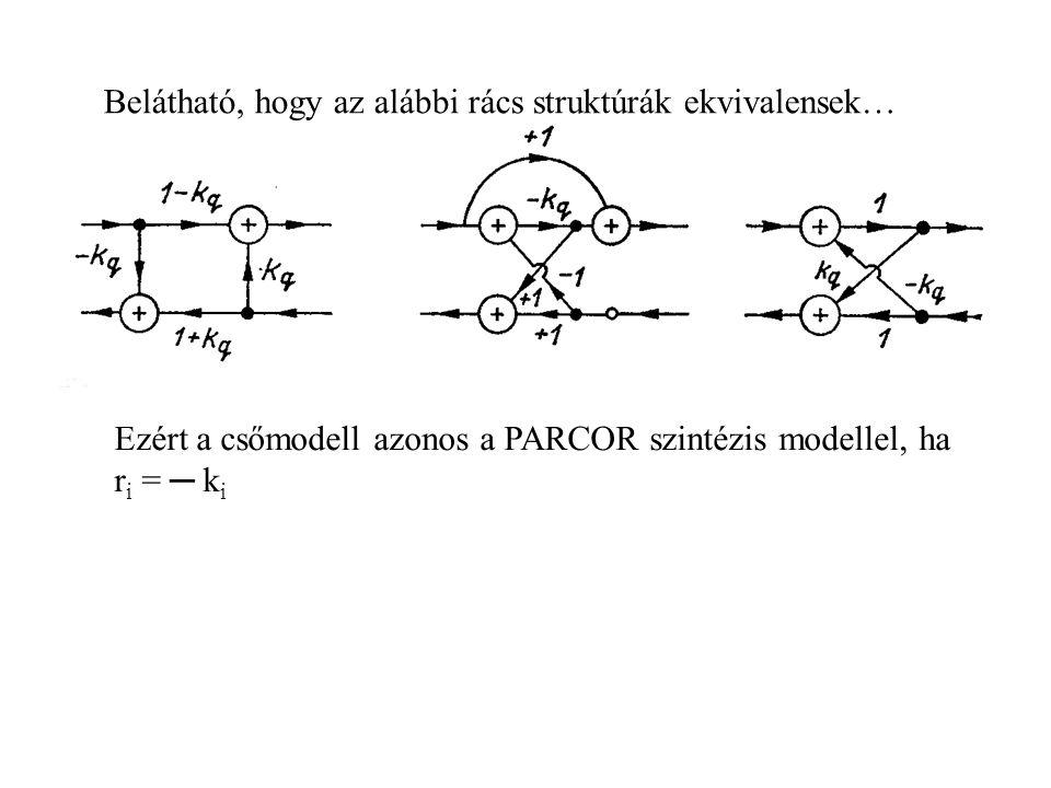 Belátható, hogy az alábbi rács struktúrák ekvivalensek… Ezért a csőmodell azonos a PARCOR szintézis modellel, ha r i = ─ k i