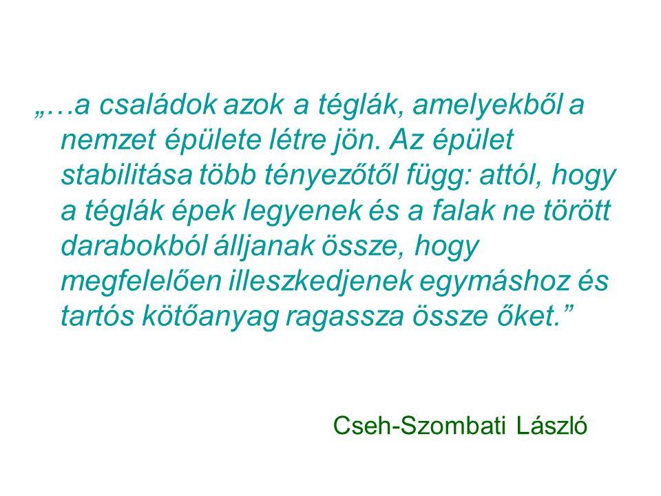 """Cseh-Szombati László """"…a családok azok a téglák, amelyekből a nemzet épülete létre jön. Az épület stabilitása több tényezőtől függ: attól, hogy a tégl"""