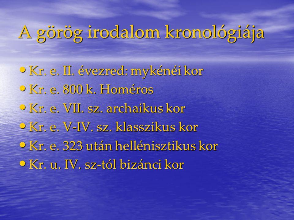 A görög irodalom kronológiája Kr.e. II. évezred: mykénéi kor Kr.