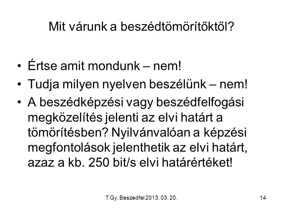 T.Gy. Beszedfel 2013. 03. 20.14 Mit várunk a beszédtömörítőktől? Értse amit mondunk – nem! Tudja milyen nyelven beszélünk – nem! A beszédképzési vagy
