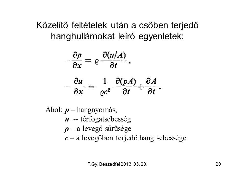T.Gy. Beszedfel 2013. 03. 20.20 Közelítő feltételek után a csőben terjedő hanghullámokat leíró egyenletek: Ahol: p – hangnyomás, u -- térfogatsebesség