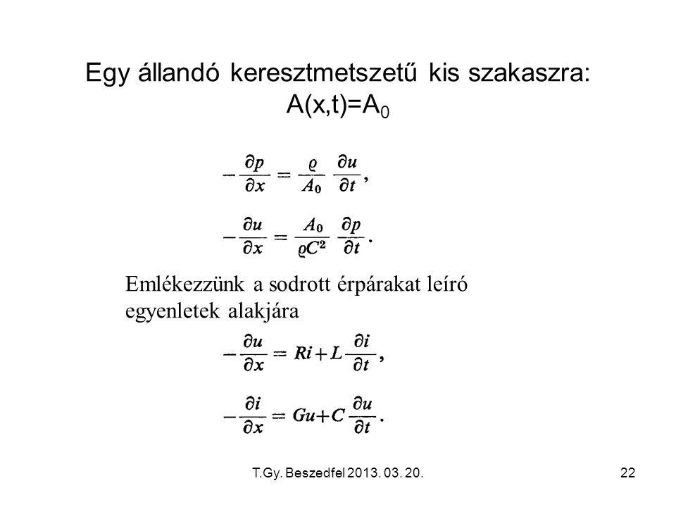T.Gy. Beszedfel 2013. 03. 20.22 Egy állandó keresztmetszetű kis szakaszra: A(x,t)=A 0 Emlékezzünk a sodrott érpárakat leíró egyenletek alakjára