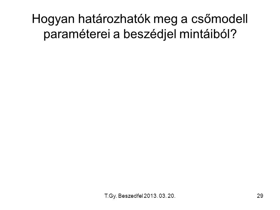 T.Gy. Beszedfel 2013. 03. 20.29 Hogyan határozhatók meg a csőmodell paraméterei a beszédjel mintáiból?
