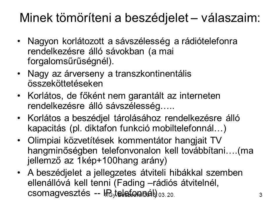 T.Gy. Beszedfel 2013. 03. 20.3 Minek tömöríteni a beszédjelet – válaszaim: Nagyon korlátozott a sávszélesség a rádiótelefonra rendelkezésre álló sávok