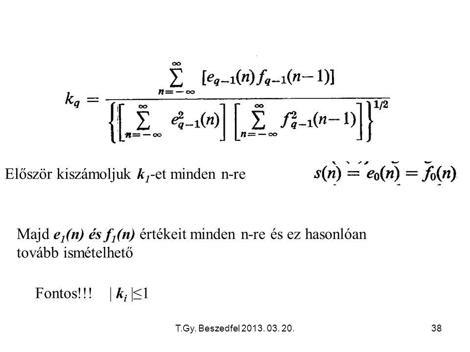 T.Gy. Beszedfel 2013. 03. 20.38 Először kiszámoljuk k 1 -et minden n-re Majd e 1 (n) és f 1 (n) értékeit minden n-re és ez hasonlóan tovább ismételhet