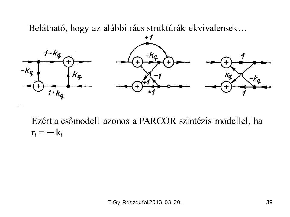 T.Gy. Beszedfel 2013. 03. 20.39 Belátható, hogy az alábbi rács struktúrák ekvivalensek… Ezért a csőmodell azonos a PARCOR szintézis modellel, ha r i =