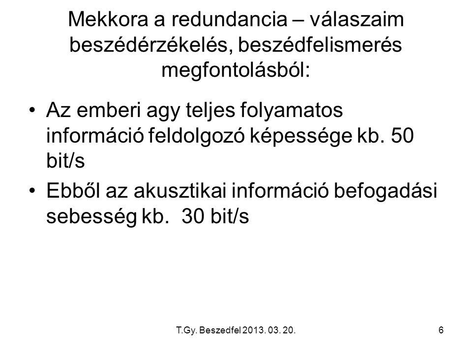 T.Gy. Beszedfel 2013. 03. 20.6 Mekkora a redundancia – válaszaim beszédérzékelés, beszédfelismerés megfontolásból: Az emberi agy teljes folyamatos inf