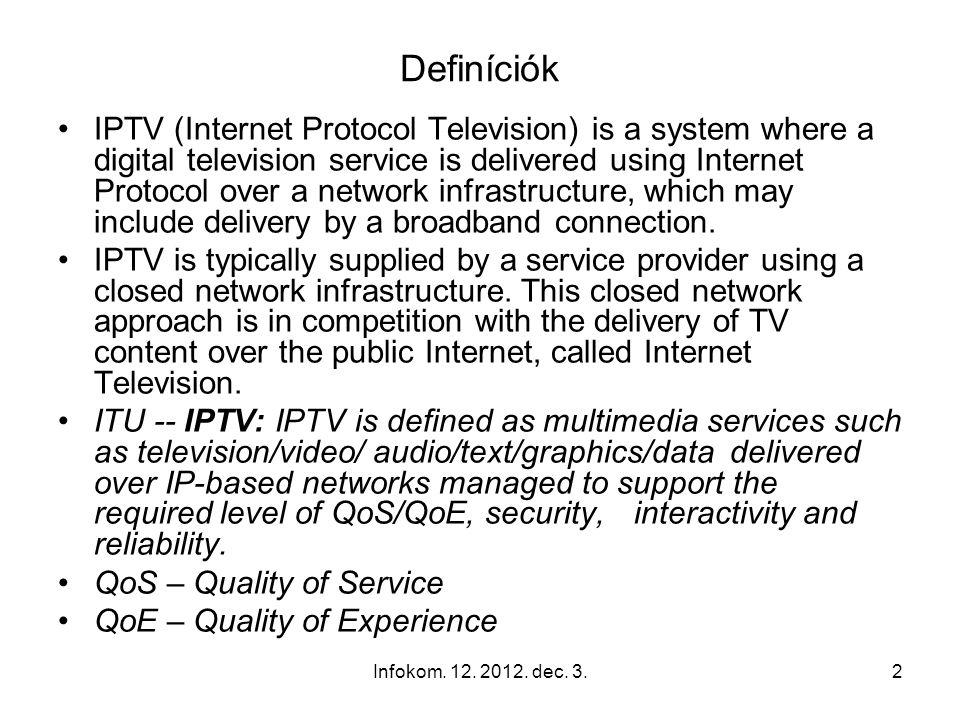 Infokom. 12. 2012. dec. 3.1 Infocom Systems Infommunikációs rendszerek 12.