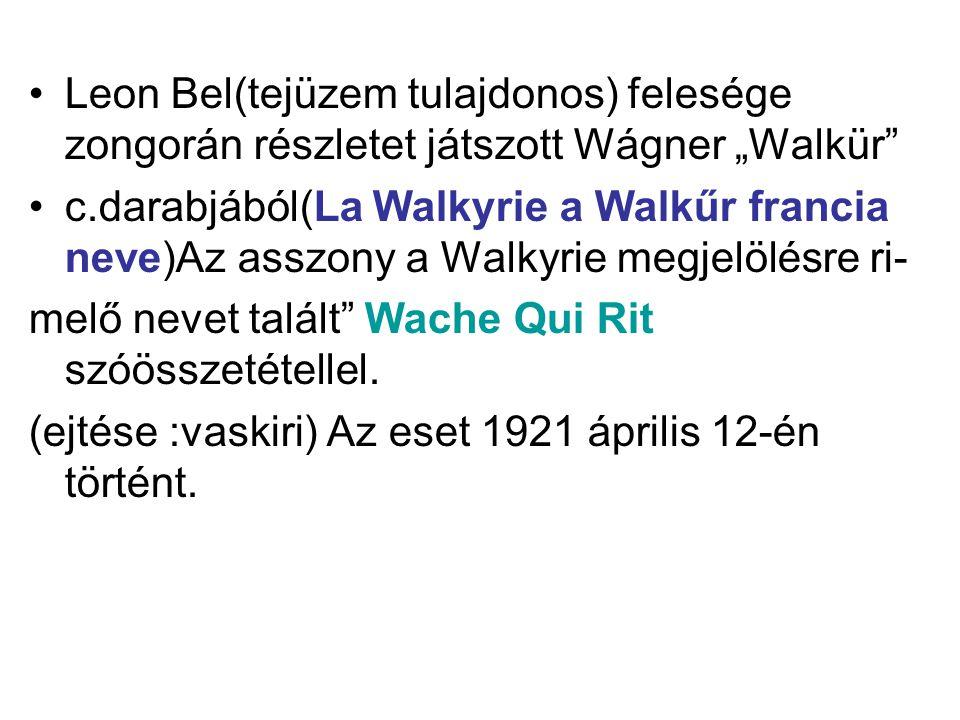 """Leon Bel(tejüzem tulajdonos) felesége zongorán részletet játszott Wágner """"Walkür"""" c.darabjából(La Walkyrie a Walkűr francia neve)Az asszony a Walkyrie"""