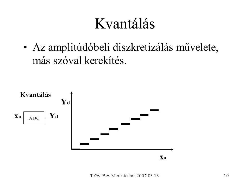 T.Gy. Bev Merestechn. 2007.03.13.10 Kvantálás Az amplitúdóbeli diszkretizálás művelete, más szóval kerekítés. Kvantálás ADC xaxa xaxa YdYd YdYd