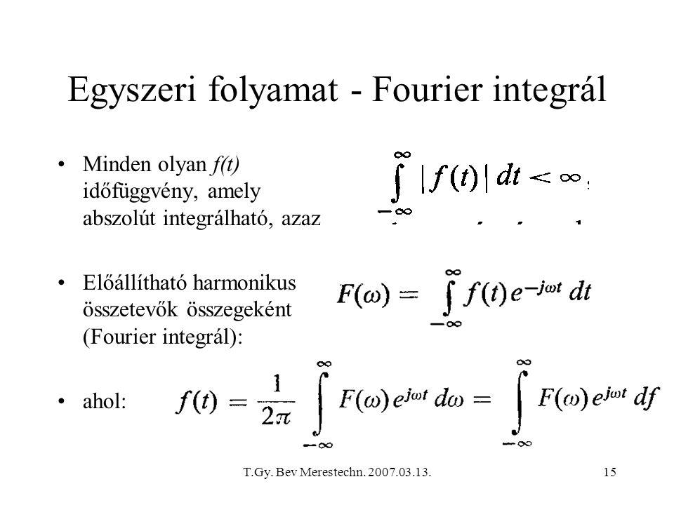 T.Gy. Bev Merestechn. 2007.03.13.15 Egyszeri folyamat - Fourier integrál Minden olyan f(t) időfüggvény, amely abszolút integrálható, azaz Előállítható