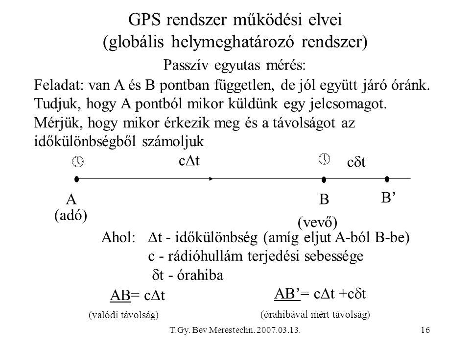 T.Gy. Bev Merestechn. 2007.03.13.16 GPS rendszer működési elvei (globális helymeghatározó rendszer) AB B'   ctct ctct Passzív egyutas mérés: Aho