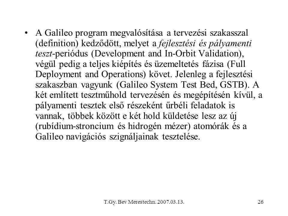 T.Gy. Bev Merestechn. 2007.03.13.26 A Galileo program megvalósítása a tervezési szakasszal (definition) kedződött, melyet a fejlesztési és pályamenti
