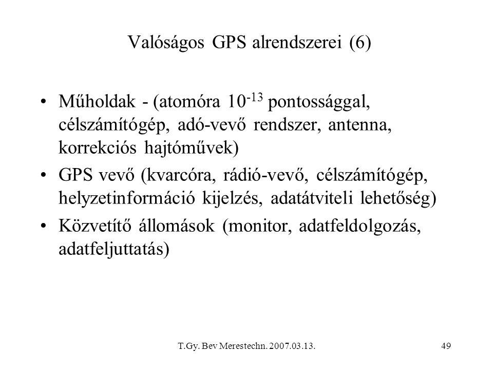 T.Gy. Bev Merestechn. 2007.03.13.49 Műholdak - (atomóra 10 -13 pontossággal, célszámítógép, adó-vevő rendszer, antenna, korrekciós hajtóművek) GPS vev