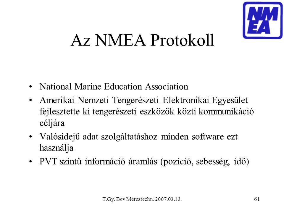 T.Gy. Bev Merestechn. 2007.03.13.61 Az NMEA Protokoll National Marine Education Association Amerikai Nemzeti Tengerészeti Elektronikai Egyesület fejle